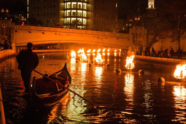 Gondola Ride during WaterFire in Providence RI