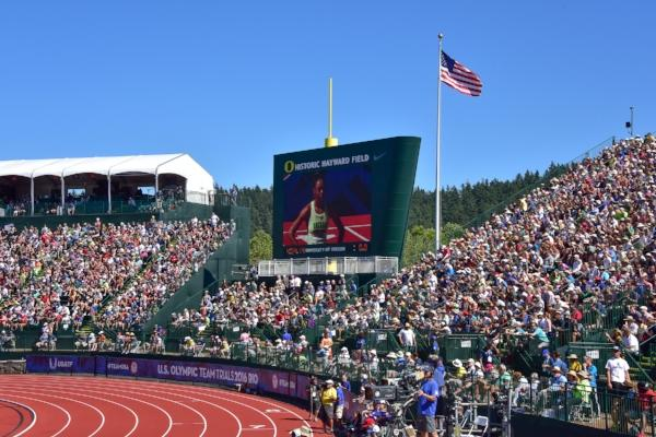Hayward Field During Olympic Trails by Dave Thomas