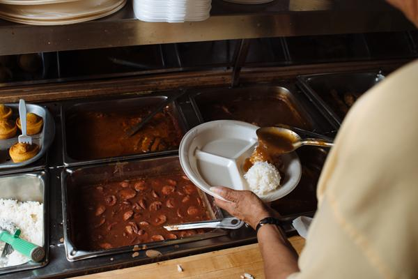 A customer at a plate lunch house in Louisiana
