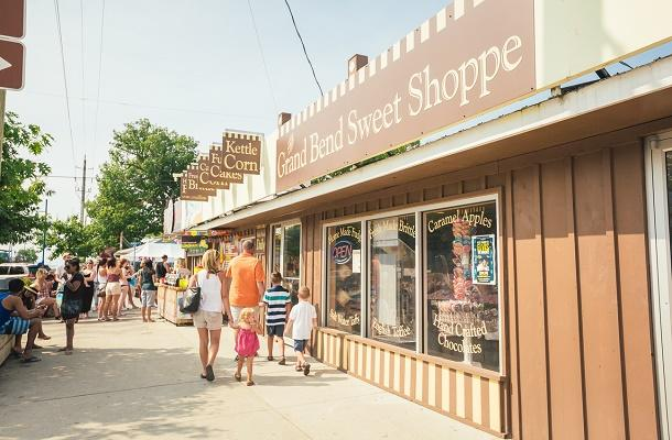 Family shopping on Grand Bend strip
