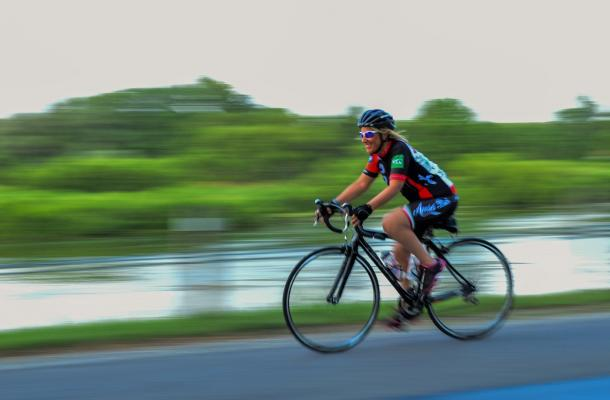 Woman cycling in Haldimand