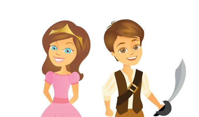 Princess and pirate cartoon