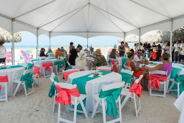 Tent Reception on Anna Maria Island - Private Beach House by Gulf Beach Weddings