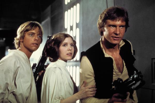 Luke Leia and Han Solo in Star Wars A New Hope film