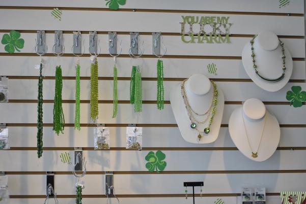 1 Stop Bead Shop Irish wall display