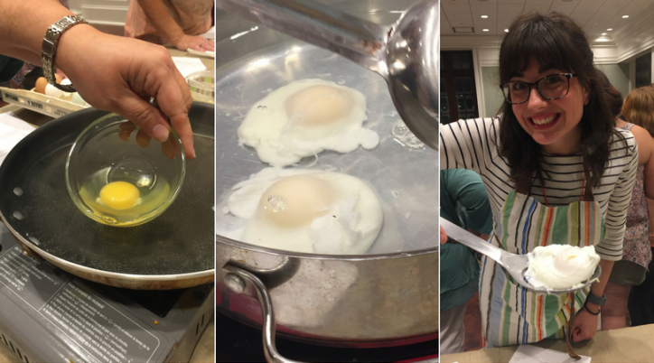 Learning how to poach an egg during a Velvet Pig cooking class in Lake Charles, La.