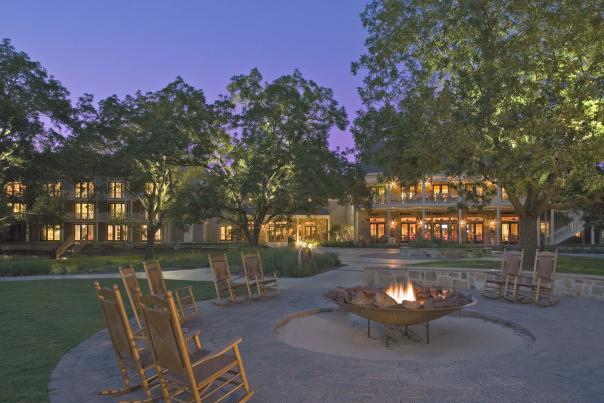 Hyatt Regency Lost Pines Resort & Spa firepit at twilight