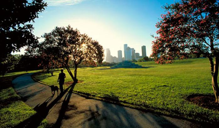 Sunrise view of Houston's Buffalo Bayou Park