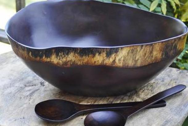 one of a kind Obiche wood bowls from Haiti