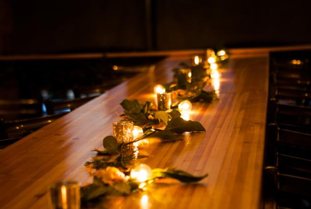Tamarack long table with lights
