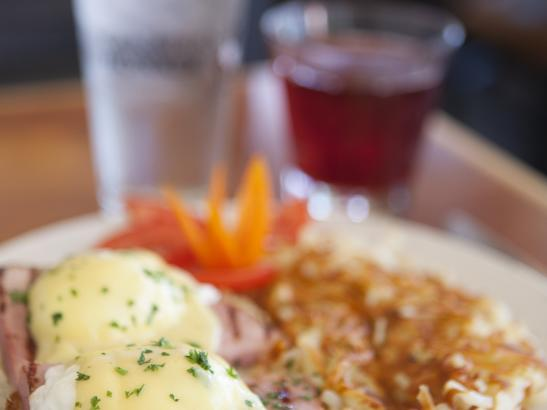 Start the day with award-winning Eggs Benedict | credit olivejuicestudios.com
