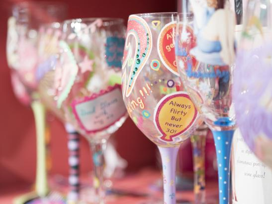 Hand painted wine glasses with a bit of a twist > credit olivejuicestudios.com.