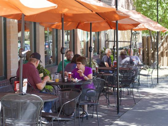 Outdoor seating during the warm months | credit olivejuicestudios.com
