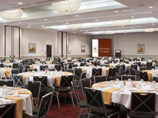 The University Hall ballroom offers flexibility for 10-500 guests