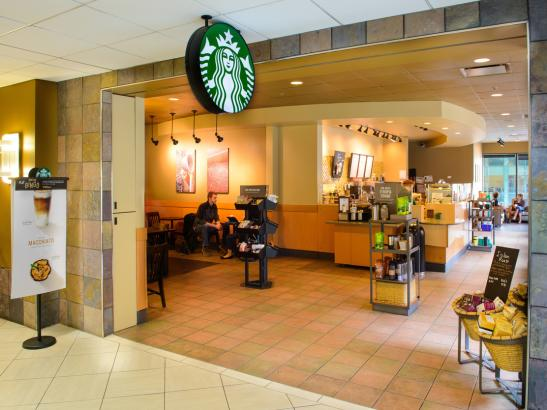 Grab your favorite Starbuck's beverage located on the second floor of the DoubleTree