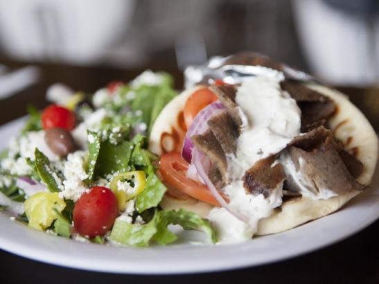 Gyros Pita with Tzatziki sauce > credit olivejuicestudios.com.