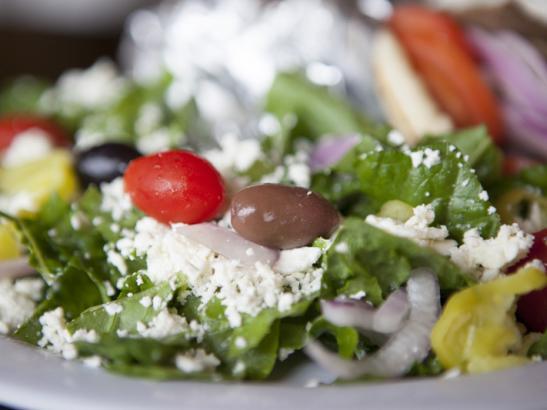 Horiatiki Salad> credit olivejuicestudios.com.