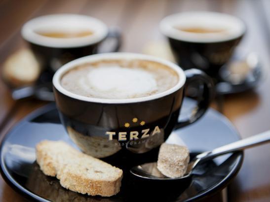 Espresso with housemade Almond Joy Biscotti > credit olivejuicestudios.com.