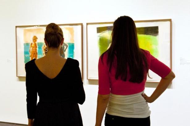 Women Viewing Paintings in Wichita Art Museum