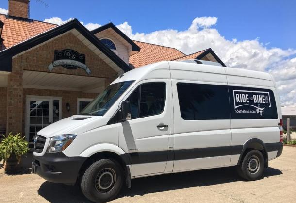 Ride the Bine Van in front of winery