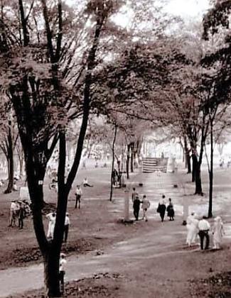Rose Island, old photo of walkway