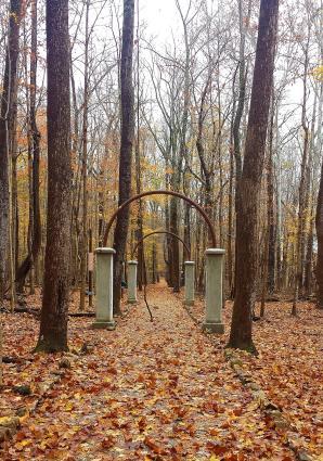 Rose Island, walkway in fall