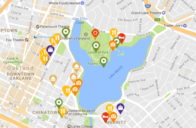 Map of Businesses in Lake Merritt District
