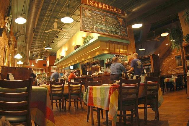 Patrons dining and ordering at Isabella's