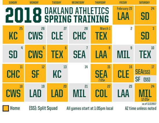 2018 Oakland As Schedule