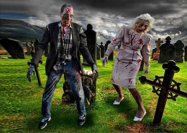 Gregg Bender and Beverly Quinn Miller take the annual Zombie Walk very seriously, as is evident in this photo/graphic created by Gregg himself, who is employed as a graphic designer at Fort Wayne Journal Gazette.