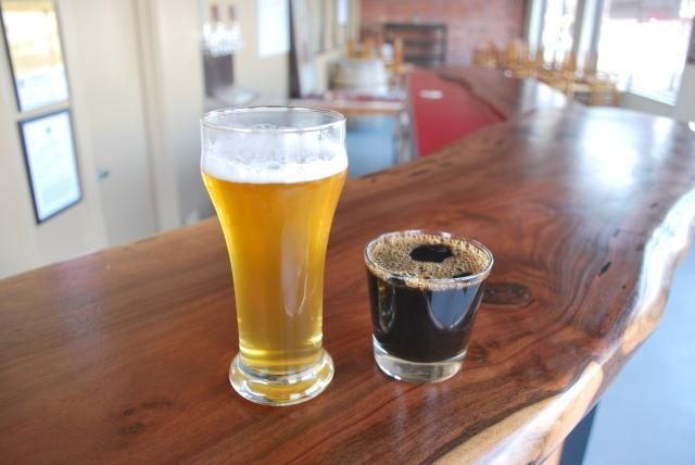 Lager and stout at New Helvetia Brewing Company in Sacramento