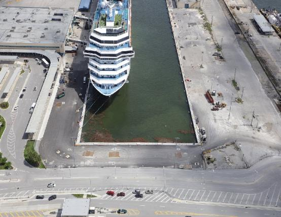 Aerial image of the completed Slip 2 extension project. Slip 2 was extended by 225 feet to accommodate today's larger cruise ships.