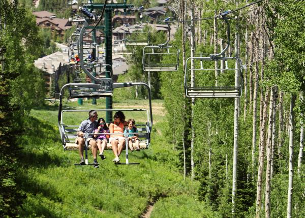 Family on Chairlift at Deer Valley