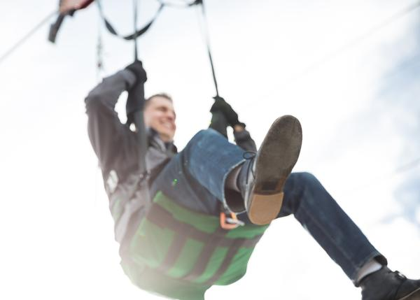 Man in Zipline seat at Utah Olympic Park