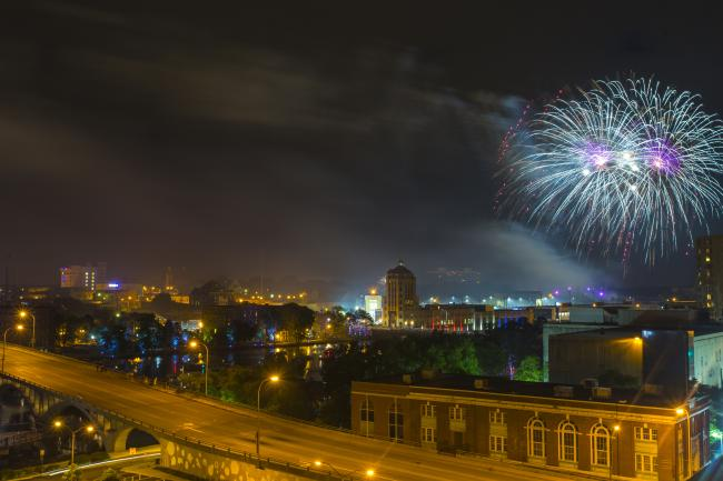 downtown Rockford fireworks