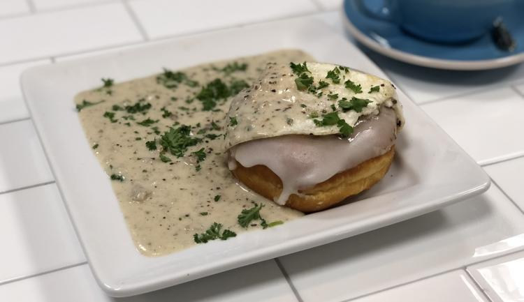 Doughnut Lounge Glazed and Gravy donut with parsley