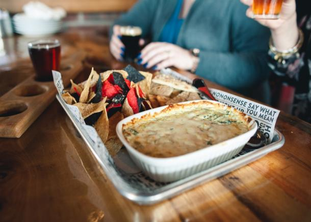 Chips and dip paired with craft beer