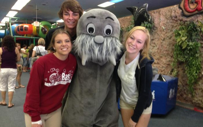 SeaBase's Wally the Walrus with staff