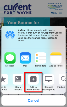iOS Add to Home Screen Button