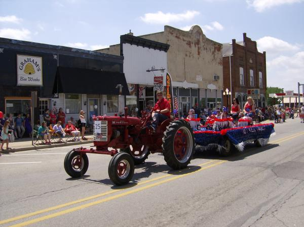 Antique tractor in the Morgantown Memorial Parade.