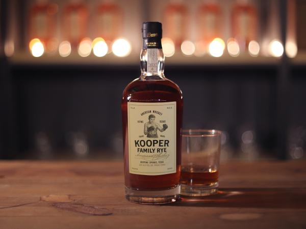 Bottle and glass of American Whiskey from Kooper Family Rye