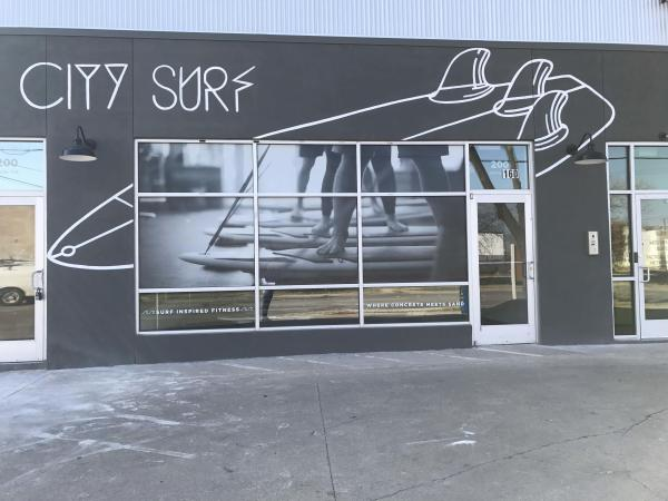 The entrance to Surf City Fitness in the Foundry District.