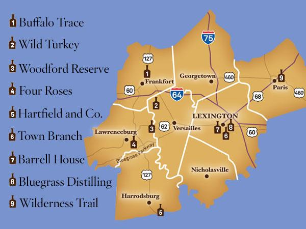 Bourbon Distillery Map