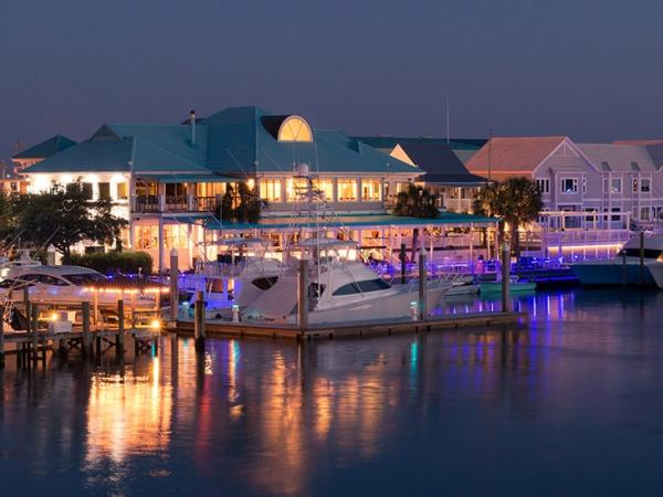 Bluewater Grill marina at night
