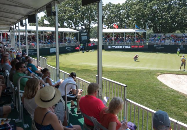 18th green skyboxes at the 2017 Principal Charity Classic