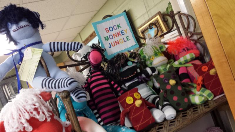 The Sock Monkey Jungle is located inside Nancy Maxwell's studio at the Art Sanctuary.