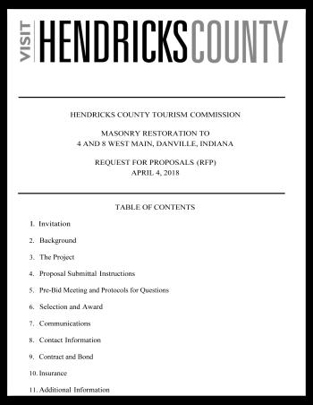 Visit Hendricks County   Masonry Restoration RFP