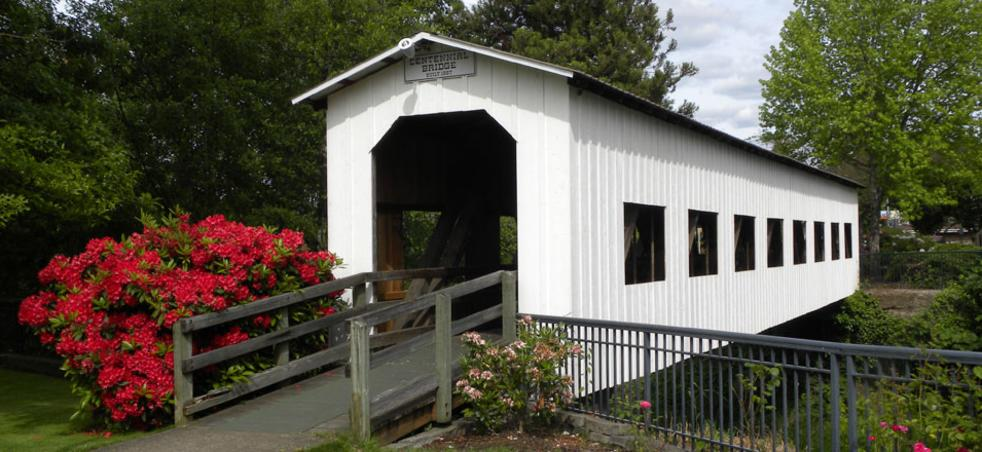 Centennial Covered Bridge, Cottage Grove, Willamette Valley, Spring Flowers