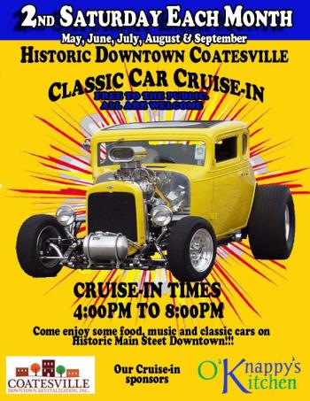 Don't miss the Coatesville Classic Car Cruise-In on Saturday evening!