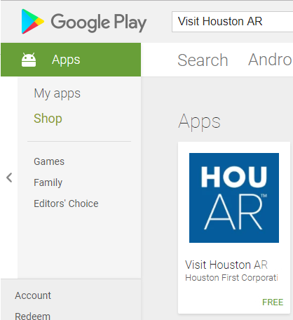 Visit Houston Search AR Play Store